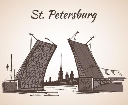 Hand drawn Saint Petersburg bridge and flag