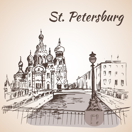 drawbridge: Church of the Saviour on Spilled Blood in St. Petersburg, Russia. Black and white vector stylized engraved illustration.