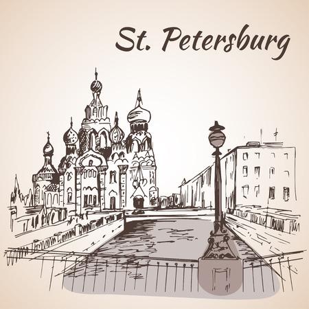 Eglise du Sauveur sur le Sang à Saint-Pétersbourg, en Russie. vecteur noir et blanc stylisé illustration gravée. Vecteurs