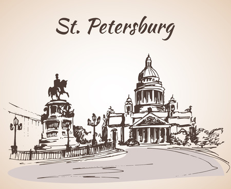 Saint Isaac Cathedral and the Monument to Emperor Nicholas I in Saint Petersburg, Russia. Sketch by hand. Vector illustration.