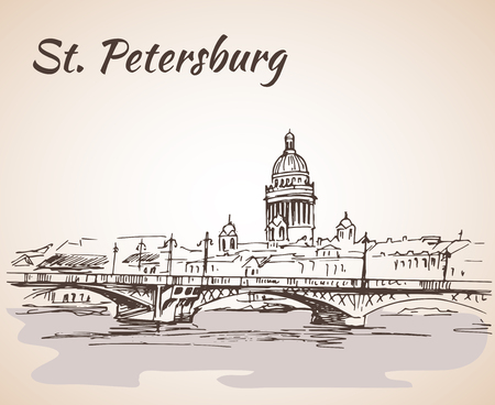 Saint Isaac Cathedral and bridge in Saint Petersburg, Russia. Sketch by hand. Vector illustration.