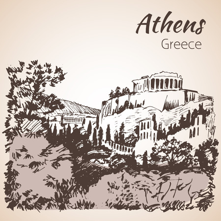 athens: Athens panoramic outline sketch - Greece. Isolated on white background