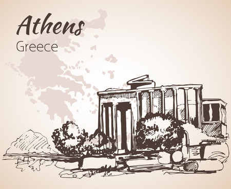 ruin: Athens ruin outline sketch - Greece. Isolated on white background Illustration