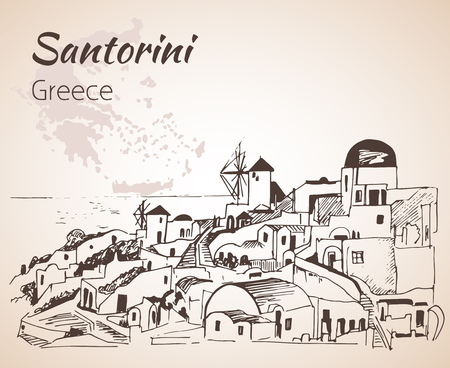 illustrate: Santorini outline sketch - Greece. Isolated on white background