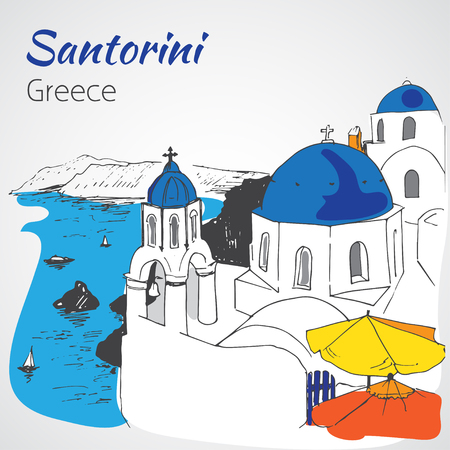 santorini: Santorini outline sketch - Greece. Isolated on white background