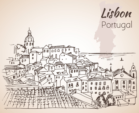 lisbon: Lisbon cityscape - hand drawn sketch. Isolated on white background