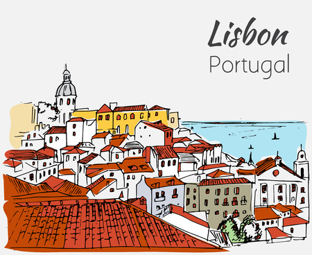 Lisbon cityscape - hand drawn sketch. Isolated on white background