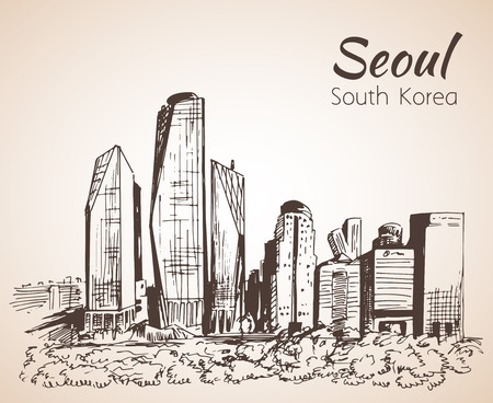 Seoul cityscape, hand drawn - South Korea. Sketch. Isolated on white background