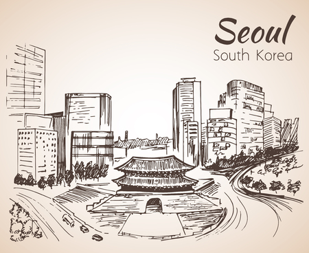 Namdaemun, the Sungnyemun Seoul cityscape, hand drawn - South Korea. Sketch. Isolated on white background