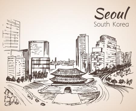 Namdaemun, the Sungnyemun Seoul cityscape, hand drawn - South Korea. Sketch. Isolated on white background
