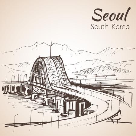 bridge hand: Hangang Bridge, Seoul, South Korea, hand drawn. Sketch. Isolated on white background
