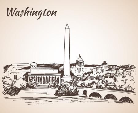 obelisk: Washington DC cityscape - sketch. Isolated on white background Illustration