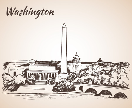 Washington DC cityscape - sketch. Isolated on white background Vectores