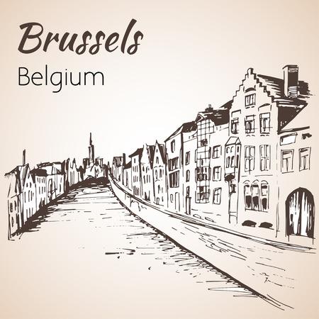 Rivier en huizen. Brussel. Geïsoleerd op witte achtergrond