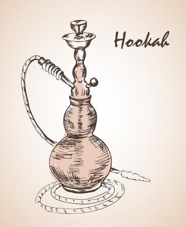 Hand drawn isolated hookah bottle. Isolated on white background Illustration