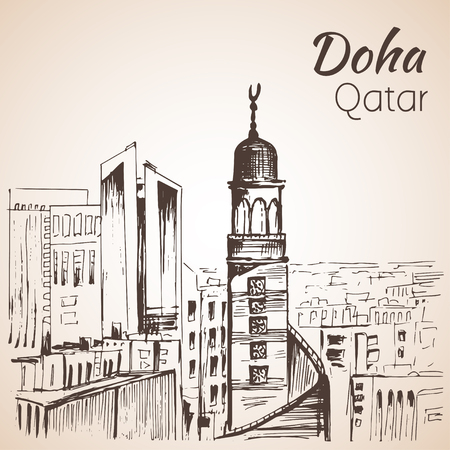 Doha, Qatar city view sketch. I Isolated on white background