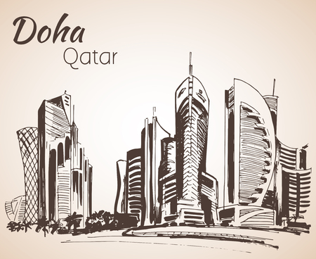 Doha, Qatar city view sketch.  Isolated on white background