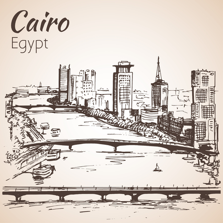 Cairo skyline, Egypt. Sketch.  Isolated on white background