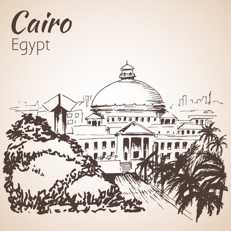 cairo: Cairo University. Egypt. Sketch. Isolated on white background