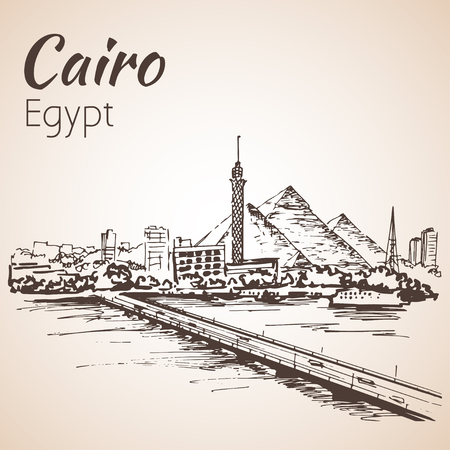 nile: Cairo tower on the river Nile - skyline, Egypt. Sketch.  Isolated on white background Illustration