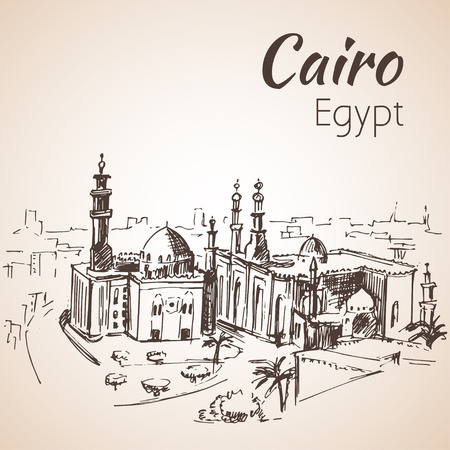 cairo: Islamic Cairo and the Mosque of Sultan Hassan. Egypt. Sketch. Isolated on white background Illustration