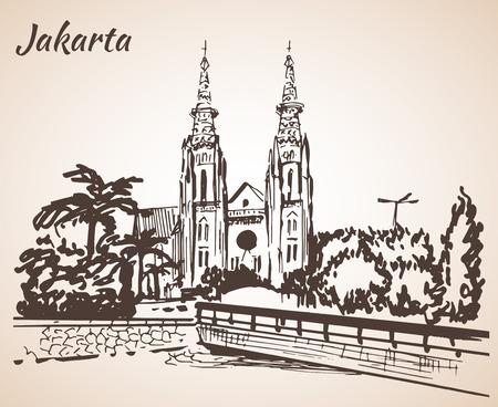 jakarta: Jakarta Cathedral sketch. Isolated on white background Illustration
