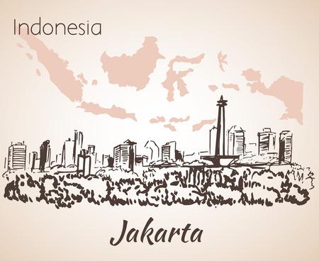 jakarta: Jakarta cityscape sketch. Isolated on white background
