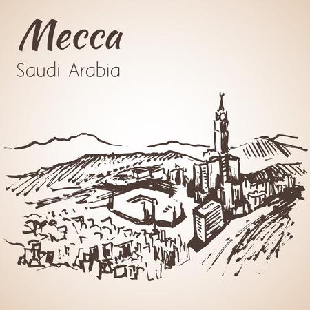 masjid: Masjid al-Haram sketch. Mecca. Isolated on white background
