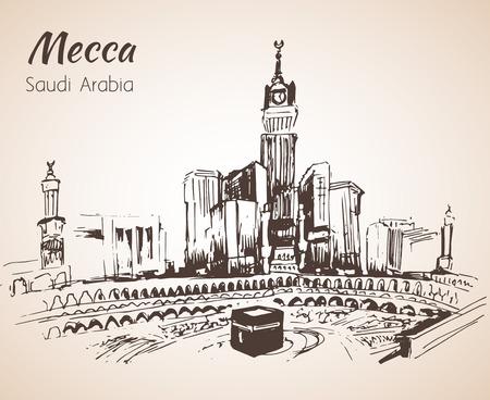 Masjid al-Haram schets. Mekka. Geïsoleerd op witte achtergrond Stockfoto - 65831281