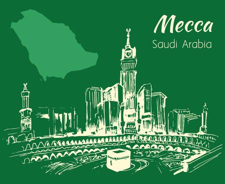 masjid: Masjid al-Haram sketch. Mecca. Isolated on green background
