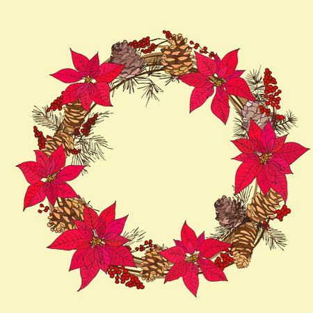 fir cone: Winter circlet of flowers with fir cone and red berries