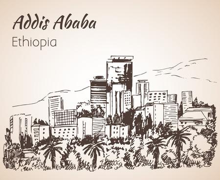 panorama city: Addis Ababa cityscape - Ethiopia. Sketch. Isolated on white background Illustration