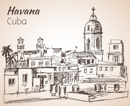 Havana sityscape sketch. Cuba. Isolated on white background