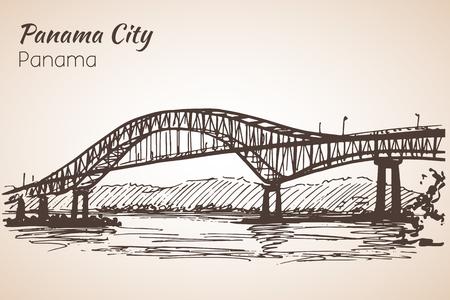 Panama city bridge sityscape sketch. Panama. Isolated on white background