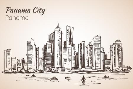 Panama city sityscape sketch. Panama. Isolated on white background