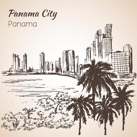 Panama city sityscape sketch. Panama. Isolated on white background Illusztráció
