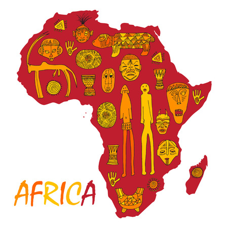 Africa Map With Different Ancient Symbols And Signs Royalty Free