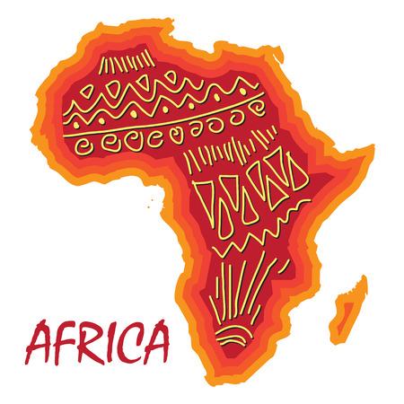 Afrika kaart met verschillende oude patroon Vector Illustratie