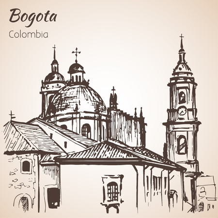 Primatial Cathedral of Bogota. Sketch. Isolated on white background 向量圖像