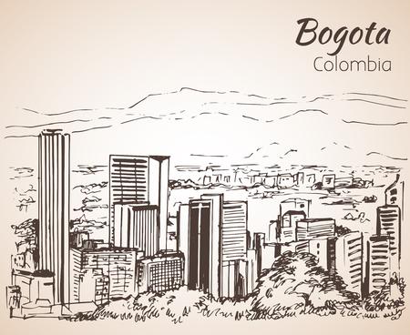 Panoramisch uitzicht van Bogota. Schetsen. Geïsoleerd op witte achtergrond