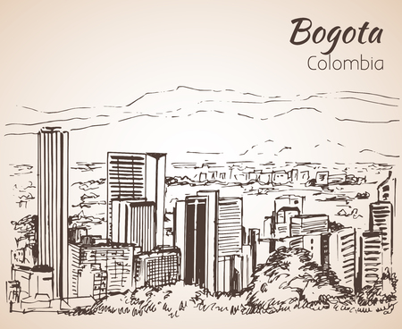 Panoramic view of Bogota. Sketch. Isolated on white background Vectores