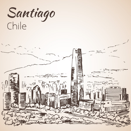 santiago: Santiago skyline, Chile. Sketch. Isolated on white background