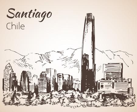 Santiago horizonte, Chile. Bosquejo. Aislado en el fondo blanco