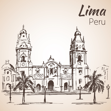 Plaza de armas. Cathedral of Lima; Peru. Sketch. Isolated on white background