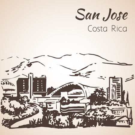 San Jose hand drawn cityscape. Costa Rica. Sketch. Isolated on white background Illustration