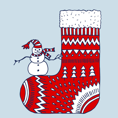 Christmas red sock with snowman. Isolated on white background
