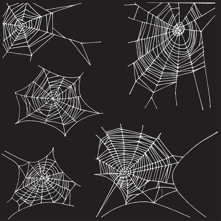 Spider hand drawn net set. Isolated on black background.