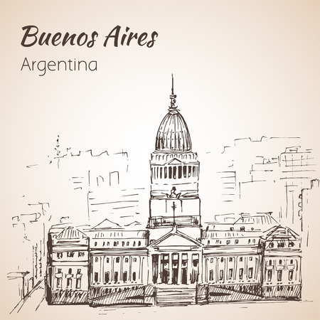 Buenos Aires cityscape. Argentina. Sketch. Isolated on white background.
