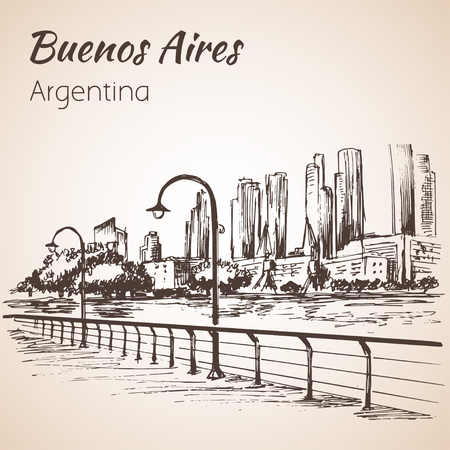 Buenos Aires cityscape seafront.  Argentina. Sketch. Isolated on white background. Illustration