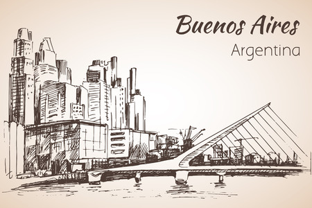 Buenos Aires cityscapewith bridge. Argentina. Sketch. Isolated on white background.